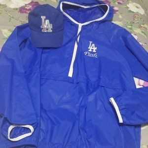 Used, LA DODGERS ANORAK JACKET AND HAT RARE for sale